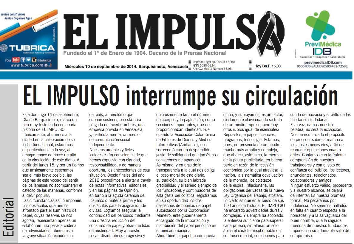 Diario EL IMPULSO, un baluarte democrático