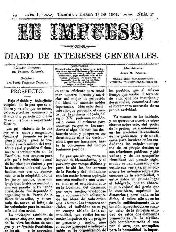 Primer ejemplar diario el impulso año 1904