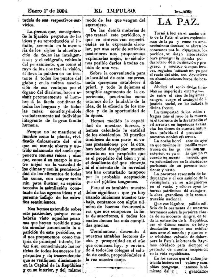 Primer ejemplar diario el impulso año 1904.