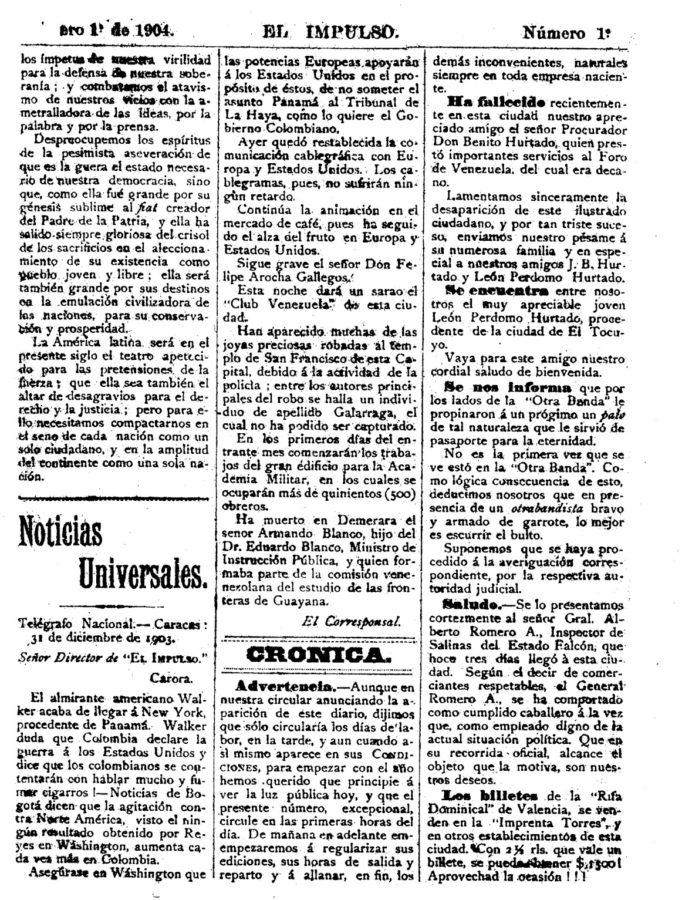Primer ejemplar diario el impulso año 1904..