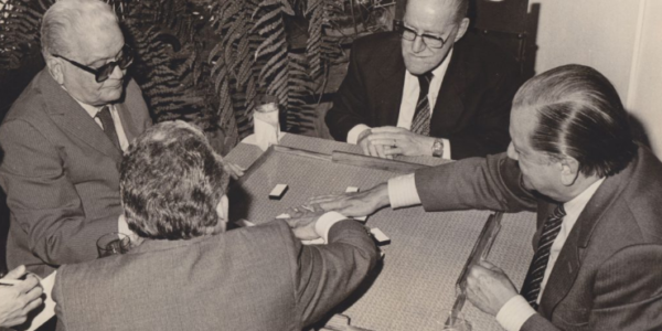 1985. Diciembre. Partida de dominó en la casa de Antonio Armas Camero, con Gonzalo Barrios, Godofredo González y Armando Sánchez Bueno