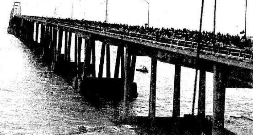 Panorama de la inauguración del Puente rafael Urdaneta