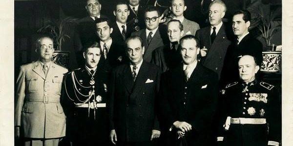 Visita de Rómulo Gallegos a EEUU. Rómulo Gallegos, Edisio Anzola, Gonzalo Barrios, entre otros
