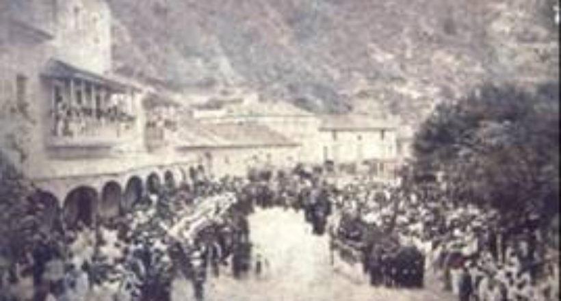 Honores militares rendidos a Páez frente a la Casa de la Aduana en La Guayra