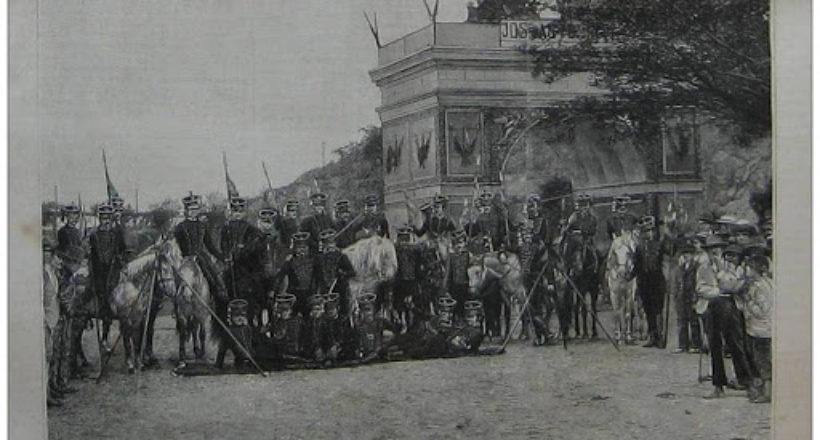 Jóvenes de la Capital con el uniforme de los Húsares de…Páez, para la traslación de las cenizas del General D. José Antonio Páez al Panteón Nacional -1888