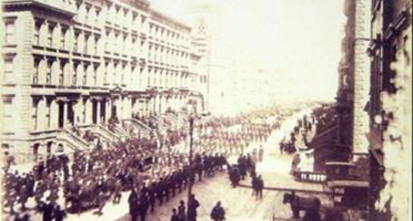 Procesión de los restos de José Antonio Páez por la 5ta. Avenida de Nueva York