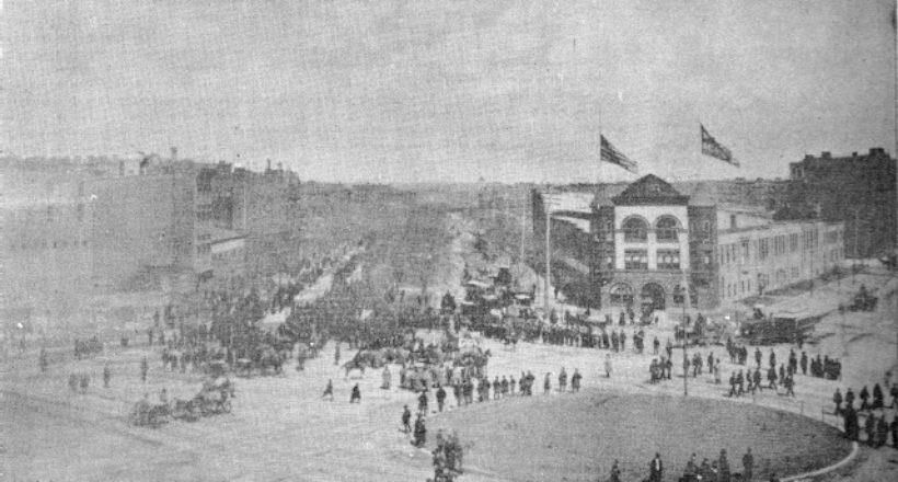 Salida del feretro-plaza del central park-calle59 oestes-1888