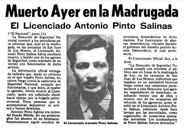 Un esbirro de la Seguridad Nacional ametralló al indefenso y esposado poeta Antonio Pinto Salinas